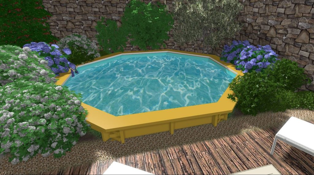Piscina legno verde design progettazione giardini terrazzi spazi area verdedesign.it